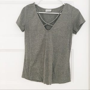 Grey T-shirt with Criss Cross front